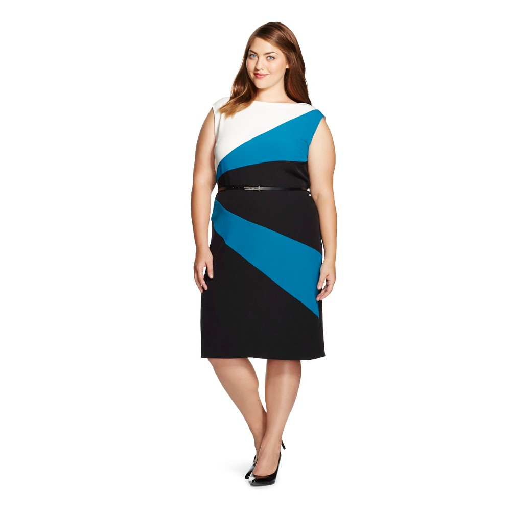 Women's Plus Size Colorblock Belted Dress Off White/Peacock/Black 14 - Studio One
