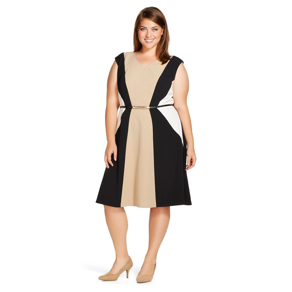 Women's Plus Size Colorblock Fit & Flare Dress Neutral/Black/Off White 24 - Studio One