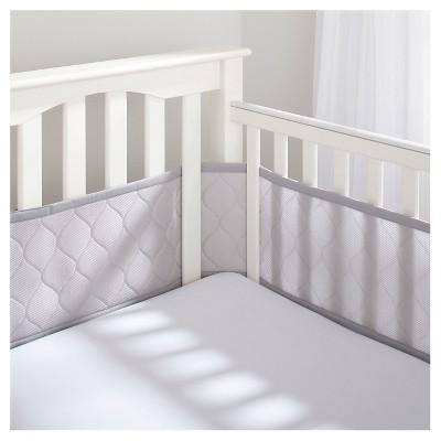 BreathableBaby Deluxe Embossed Mesh Crib Liner - Gray