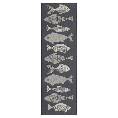 Runner Outdoor Rug - Navy Fish - Threshold™