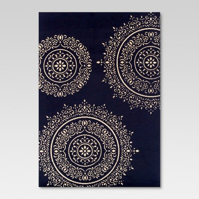 5'x7' Outdoor Rug - Navy Medallion - Threshold™