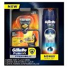 Gillette Fusion ProShield Men's Razor Handle + 3 Razor Blades + Fusion ProGlide Sensitive Shave Gel 6oz - 1 kit