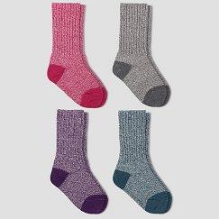 Girls' Wool IQ 4-Pack Crew Socks - Multicolored