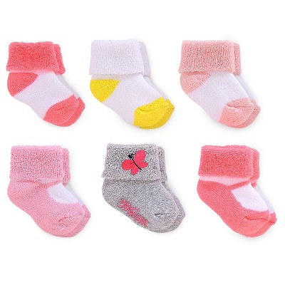 Just One You™ Made by Carter's® Baby Girls' 6-pack Socks - Pink/Yellow -  Size 3-12M
