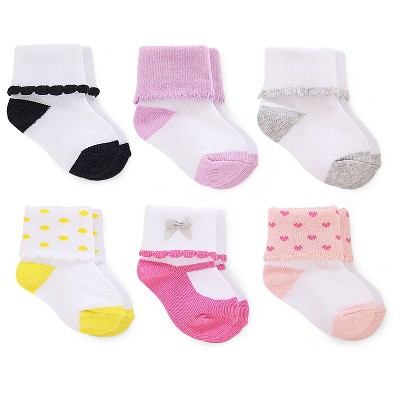 Just One You™ Made by Carter's®  Baby Girls' 6-Pack Scalloped Cuff Sock - Multicolored 0-3 M