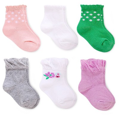 Just One You™ Made by Carter's® Baby Girls' 6-pack Socks - Pink/Purple/Green -  Size 3-12M