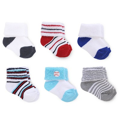 Just One You™ Made by Carter's® Baby Boys' 6-Pack Ankle Sock - Red/Blue/White Size 0-3M
