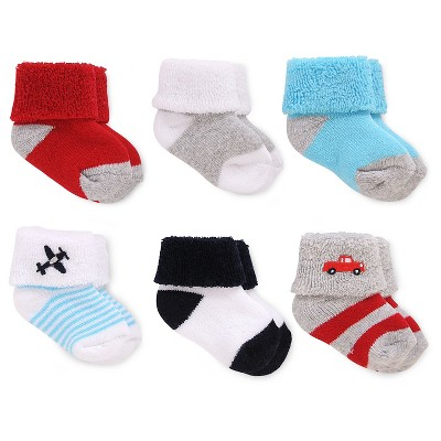 Just One You™ Made by Carter's® Baby Boys' 6-Pack Ankle Sock - Red/Blue Size 0-3M