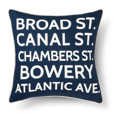 "Urban Stripe Street Sign Pillow (18""x18"") Navy - The Industrial Shop™"