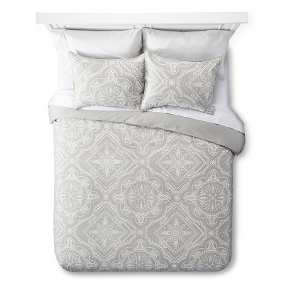 Tile Duvet and Sham Set - Queen - 3 pc - Dark Grey - The Industrial Shop™