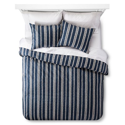 Edison Duvet and Sham Set - Queen - 3 pc - Navy - The Industrial Shop™