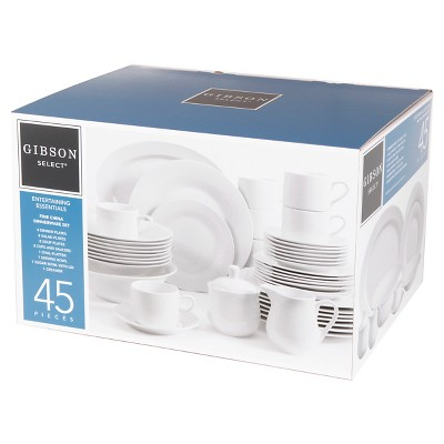Gibson Select Entertaining Essentials 45-Piece Round Dinnerware Set  - White