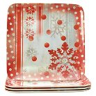 LANG 4 Pack Melamine Square Winter Holiday Side Plate