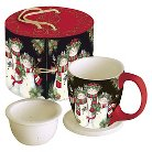 LANG 3 Piece Ceramic Snowman Family Tea Cup Set 11 oz
