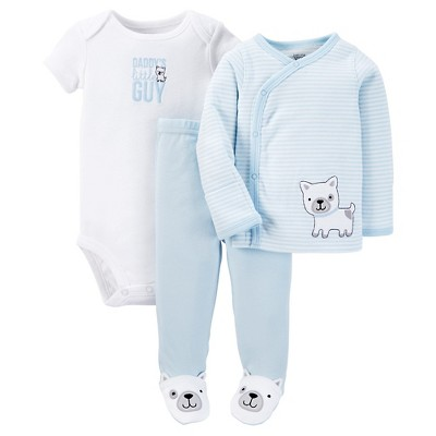 Just One You™ Made by Carter's®  Baby Boys' 3-Piece Striped Bodysuit Set - Blue Preemie