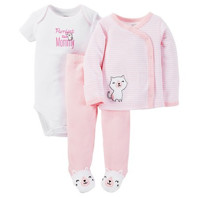 Just One You™ Made by Carter's®  Baby Girls' 3-Piece Striped Bodysuit Set - Pink Preemie