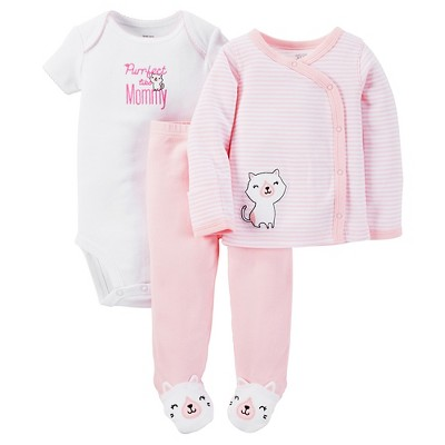 Just One You™ Made by Carter's®  Baby Girls' 3-Piece Striped Bodysuit Set - Pink 6 M