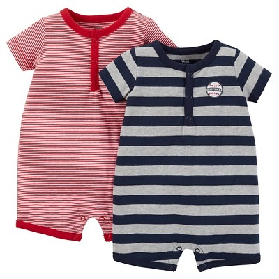 Just One You™ Made by Carter's® Baby Boys' Striped 2-Pack Romper - Red 6 M