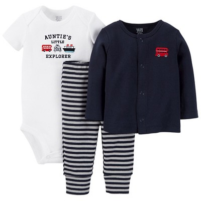 Just One You™ Made by Carter's® Baby Boys' 3-Piece Bodysuit Set - Blue NB