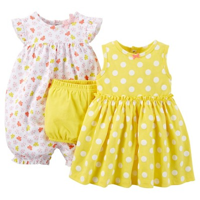 Just One You™ Made by Carter's® Baby Girls' Butterfly 3-Piece Romper Set - Yellow NB