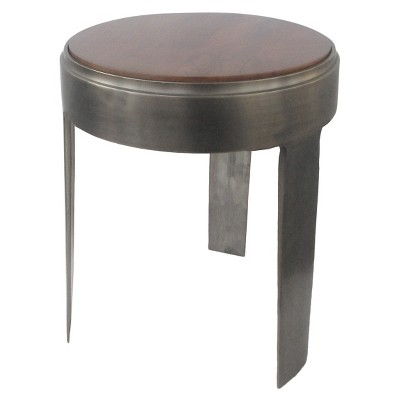 Threshold Casted Metal w/ Wood Top Accent Table