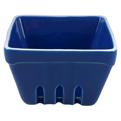 Decorative Basket Threshold Stoneware Blue Square