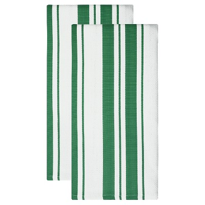 Cotton Basketweave Stripe Dish Towel - Set of 2 - Jade