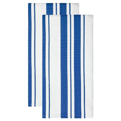 Cotton Basketweave Stripe Dish Towel - Set of 2 - Cobalt