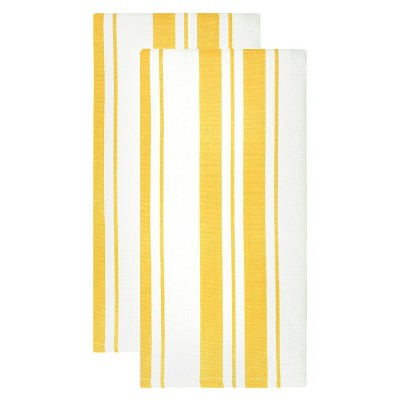 Cotton Basketweave Stripe Dish Towel - Set of 2 - Lemon