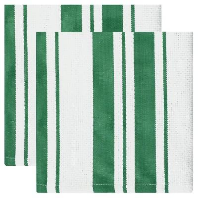 Cotton Basketweave Stripe Dishcloth - Set of 2 - Jade