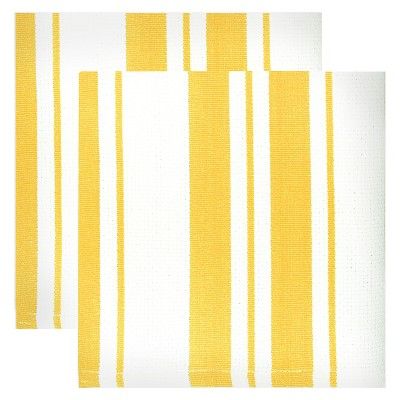 Cotton Basketweave Stripe Dishcloth - Set of 2 - Lemon