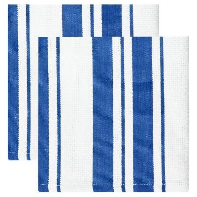 Cotton Basketweave Stripe Dishcloth - Set of 2 - Cobalt