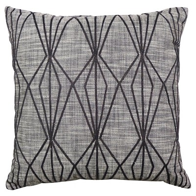 Threshold 18  Gray Faceted Embroidered Decorative Pillow