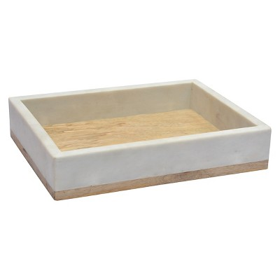 Threshold White Marble and Wood Tank Tray