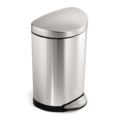 simplehuman 10 Liter Semi-Round Step Trash Can in Fingerprint-Proof Brushed Stainless Steel