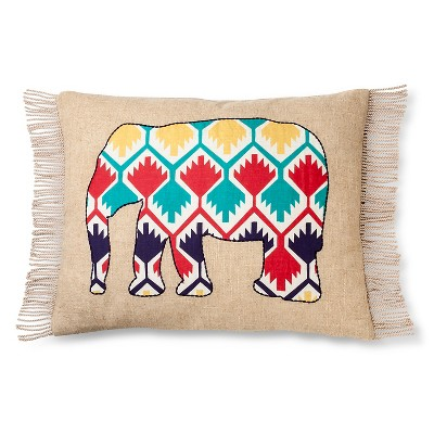 Zaayan Applique Elephant Pillow Multicolored - Mudhut™