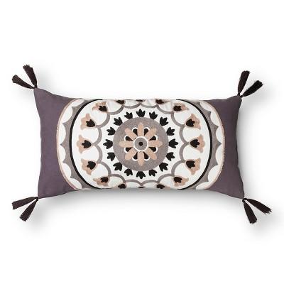 Mudhut™ Porto Towel Stitch Medallion Pillow - Grey