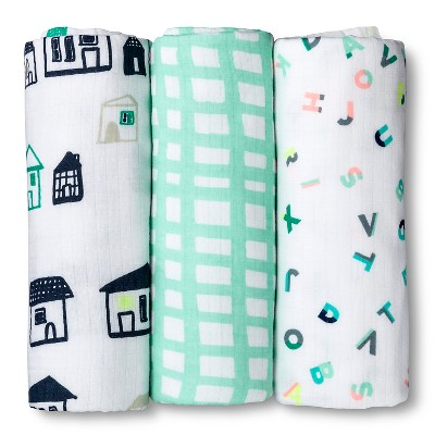 Oh Joy!® 3pk Muslin Swaddle Blanket - ABC/City