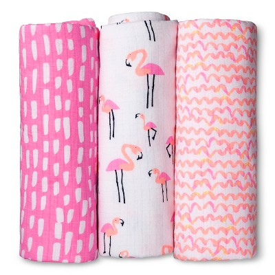 Oh Joy!® 3pk Muslin Swaddle Blanket - Flamingo