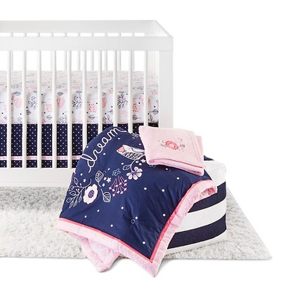 Circo™ 4pc Crib Bedding Set - Navy n' Pink