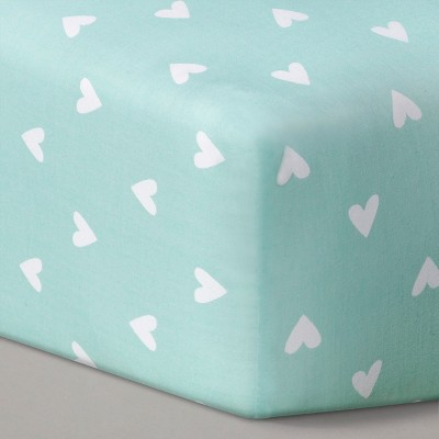 Circo™ Woven Fitted Crib Sheet - Mint Hearts