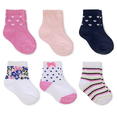 Just One You™ Made by Carter's® Baby Girls' 6-Pack Ankle Sock - Pink/White/Blue 3-12 M