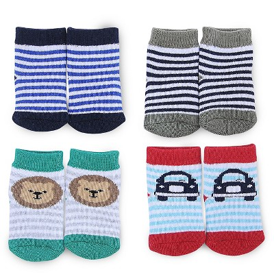 Just One You™ Made by Carter's® Baby Boys' 4-Pack Ankle Sock - Blue/White/Gray/Red 0-3 M