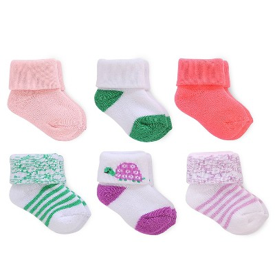 Just One You™ Made by Carter's® Baby Girls' 6-Pack Cuff Sock - Pink/Green/White 0-3 M