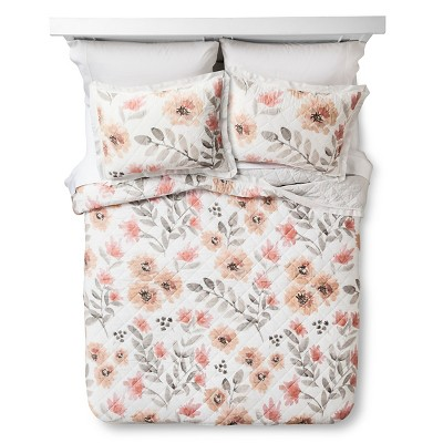 Watercolor Floral Quilt King Multicolor - Threshold™