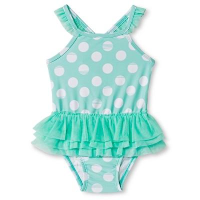 Toddler Girls' 1-Piece Polka Dot Tutu Swimsuit Green 5T - Circo™