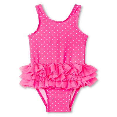 Baby Girls' 1-Piece Polka Dot Tutu Swimsuit Pink 12M - Circo™