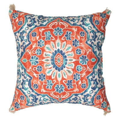 Outdoor Pillow - Coral & Blue Batik - Threshold™