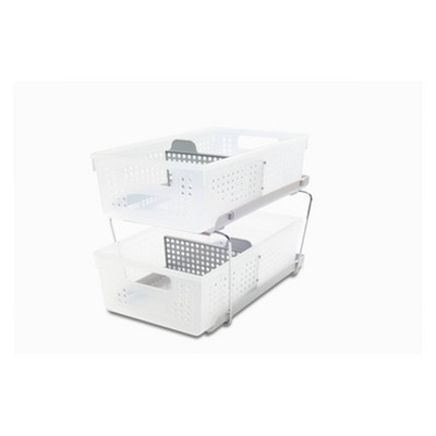 Madesmart 2-Tier Organizer with Dividers - Grey