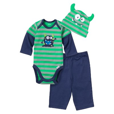 Male Top And Bottom Sets Gerber 0-3 M GRN